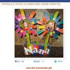 Popsicle stick craft. This would be cute for mothers day.