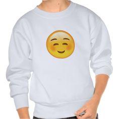White Smiling Face Emoji Pullover Sweatshirt