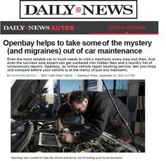 """Openbay has hit the news again! We take the  """"mystery (and migranes) out of car maintenance."""" http://blog.openbay.com/post/98723270727/ny-daily-news-covers-openbay"""
