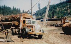 Big log on Mack truck