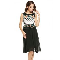 New Women Casual O-Neck Sleeveless Slim Chiffon Patchwork Tank A-Line Hem Dress With Lining