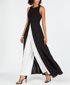 Adrianna Papell Petite Crepe Colorblock Jumpsuit - Dresses - Petites - Macy's - Jumpsuits and Romper Jumpsuit Dress, Black Jumpsuit, Palazzo Jumpsuit, Dress Skirt, Look Fashion, Fashion Outfits, Womens Fashion, Edgy Outfits, Luxury Fashion
