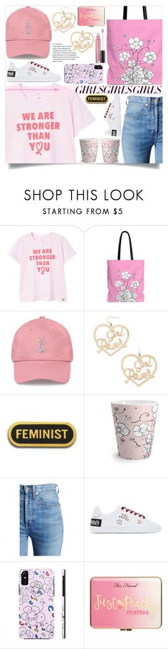 """Loud and Proud: Girl Pride (17)"" by samra-bv ❤ liked on Polyvore featuring MANGO, Forever 21, RE/DONE, Just Peachy and Laura Geller"