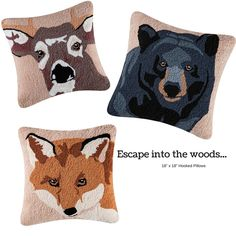 #Escape into the #woods with our detailed #woodland #animals pillows. #CFEnterprises #Pillows