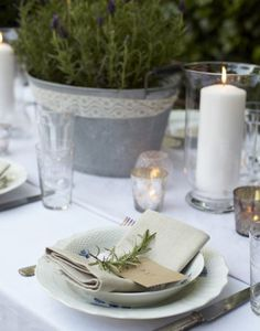 rustic rosemary on place settings