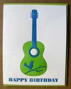 Cant resist this great letter press card...maybe some wall art in a larger frame. happy birthday bird guitar greeting card by dutchdoor on Etsy, $4.50