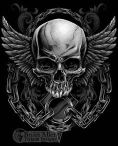Evil skull design with wings and chains for a MMA apparel brand - Tap the link to shop on our official online store! You can also join our affiliate and/or rewards programs for FREE! Hals Tattoo Mann, Tattoo Hals, Skull Tattoos, Body Art Tattoos, Panzer Tattoo, Tattoo Caveira, Mma Clothing, Badass Skulls, Totenkopf Tattoos