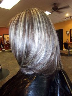 Amazing Silver Highlights! Silver highlights in with dark brown hair.