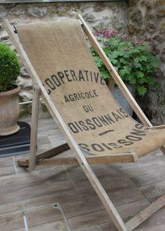 """Chilienne ou chaise longue """" Cooperative agricole """" / les couleurs de brocantine"""
