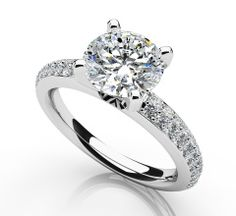Dazzling Two Row Diamond Engagement Ring