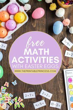 Easter Egg Math Activities for Kindergarten {Freebies Included! Kindergarten Freebies, Kindergarten Math Activities, Fun Math Games, Easter Activities, Spring Activities, Kindergarten Classroom, Learning Activities, Toddler Activities, Teaching Ideas