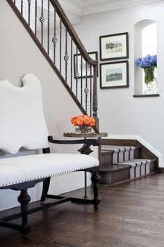 Clean & crisp - stripes up the stairs really ties it together...
