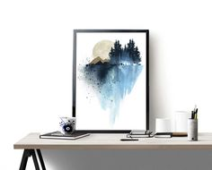 Blue mountain wall art art print watercolor poster nature by WhiteDoePrints | Etsy