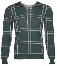 SALVATORE FERRAGAMO Salvatore Ferragamo Men'S Green 100% Wool V-Neck Jumper Sweater. #salvatoreferragamo #cloth #
