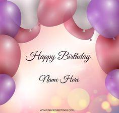 write name on birthday colorful balloons greeting card create name