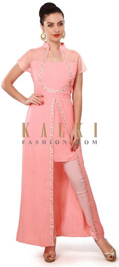 Buy Online from the link below. We ship worldwide (Free Shipping over US$100). Product SKU - 317173. Product Price - $139.00. Product Link - http://www.kalkifashion.com/pink-suit-enhanced-in-pleated-yoke-only-on-kalki.html