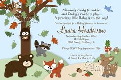 Forest Critters Print Your Own Woodland Animals Baby Shower Invitation. $10.00, via Etsy.