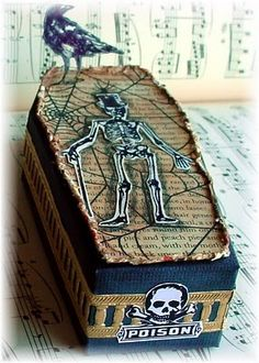 Halloween treat box w/book page, raven,  skeleton & poison label