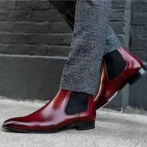 Handmade men cherry burgundy boots, chelsea style luxury boots, men leather boot, men formal ankle boots · Bishoo · Online Store Powered by Storenvy Ankle Boots Men, Mens Shoes Boots, Mens Boots Fashion, Leather Ankle Boots, Leather Men, Men's Shoes, Shoe Boots, Soft Leather, Real Leather