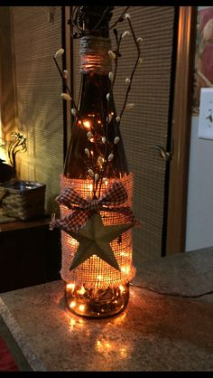 Lighted Wine Bottle With Rustic Star by 51Buttons on Etsy More
