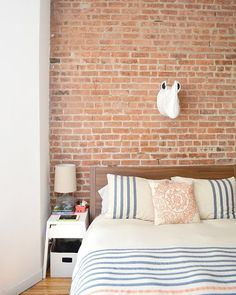 Vote: New Entries for Monday 5.26.14 Bedroom Bed, Closet Bedroom, Bedroom Decor, Dream Bedroom, Bedrooms, Diy Interior, Striped Bedding, Blue Bedding, Exposed Brick