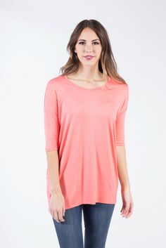 Soft and comfortable top featuring a delicate scoop neckline and a trendy hi-lo hem.96% Rayon Modal 4% Spandex331-53707