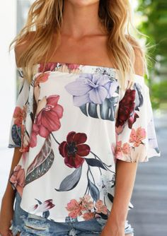 Floral Off Shoulder Asymmetric Blouse