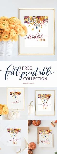 Beautiful printable fall decor collection! Four different images to choose from!