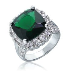 Bling Jewelry Vintage Style CZ Emerald Color Cocktail