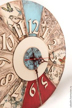 Wall clock / Купить Часы настенные большие ,, Алиса в зазеркалье,, - комбинированный, часы ручной работы, часы для дома Clock Craft, Diy Clock, Wooden Clock, Wooden Diy, Clock Face Printable, Decoration, Art Decor, Art Deco Watch, Wall Clock Design