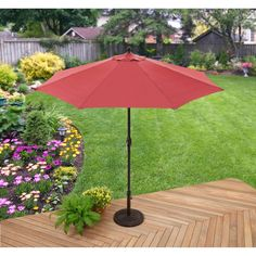 Umbrella Red 8 Rib Construction Added Strength Polyester Canopy Steel Frame #GardenHome
