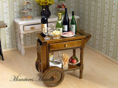 Miniature Dollhouse Trolley Table With Food by Minicler on Etsy