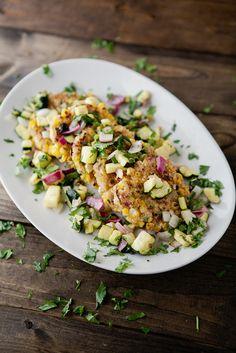 Corn Cilantro Cakes with Roasted Zucchini Salsa / naturally ella