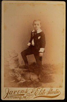 Cabinet Photo Boy Dog Big Ears on Leash by Javens Pittsburg Pennsylvania 1890s