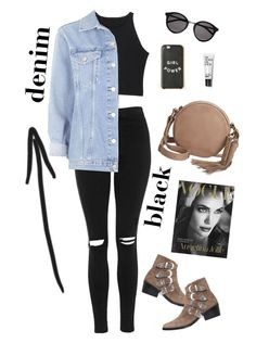 """""""Untitled #40"""" by birdinthethyme ❤ liked on Polyvore featuring Topshop, Toga, Yves Saint Laurent, Lucky Brand, Spring, black, denim and ootd"""