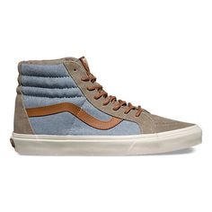 The Brushed Sk8-Hi Reissue DX, the legendary Vans high top reissued with a vintage sensibility, features deluxe textile and leather uppers, UltraCush sockliners for long lasting comfort, padded collars for support and flexibility, and signature rubber waffle outsoles.