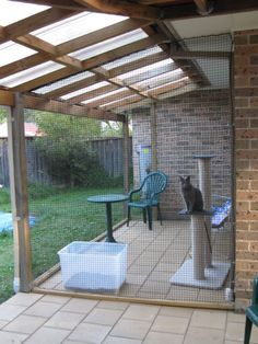 Outdoor Cat Enclosures | Side view of cat enclosure