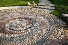 pebbles garden paths, patio designs, yard landscaping ideas