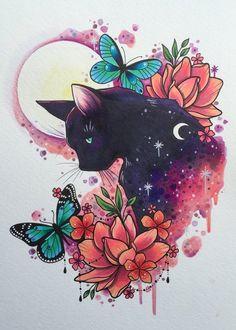 Black Cat Tattoo Print Tattoo Design Cat Art Print - Black Cat Tattoo Print Tattoo Design Cat Art Print Butterfly Painting Tattoo Flash Design Watercolor Print Witches Cat Print May Beautiful And Detailed Black Cat Art Print Art And Illustration, Illustration Pictures, Cat Illustrations, Tattoo Chat, Tattoo Owl, Robot Tattoo, Tiny Tattoo, Arte Inspo, Black Cat Tattoos