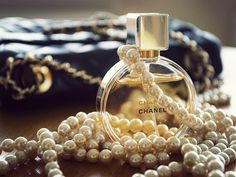 Channel perfume and pearls
