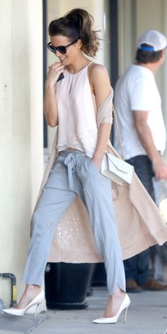 Kate Beckinsale silk top and tie-waist trousers