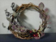 autumn wreath - microtomato,eucalyptuses,nuts & fruits