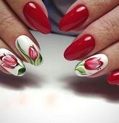 Bright Nail Designs, Flower Nail Designs, Nail Designs Spring, Nail Art Designs, Tulip Nails, Flower Nails, Red Gel Nails, Acrylic Nails, Nail Gel