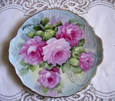 Porcelain ROSES Charger Cake Plate Signed by VictorianRosePrints,