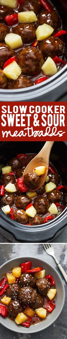 Easy Slow Cooker Sweet & Sour Meatballs | lecremedelacrumb.com