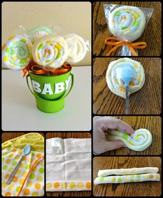 Lollipop Baby Gifts - Innovation!  Love this idea for a baby shower gift with personalized container.