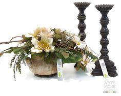 Composizione floreale fiori artificiali in tessuto: Panna Anticata