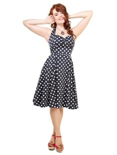 Collectif Joanna Doll Dress in Blue and White Spot halterneck sweethear neckline