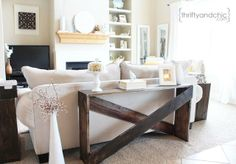 Easy looking sofa table tutorial, would probably put in entry way. Maybe paint glossy white? Sideboard Furniture, New Furniture, Furniture Design, Furniture Ideas, Furniture Stores, Outdoor Furniture, Sofa Table Decor, Sofa Tables, Diy Table
