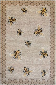 Trans Ocean Natural Frontporch Honeycomb Bee rug - Animal Artistry Rectangle x Bee Nursery, I Love Bees, Nursery Themes, Nursery Ideas, Room Ideas, Bee Crafts, Bee Theme, Bee Happy, Save The Bees